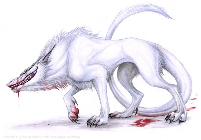 Девушка с волком рисунок