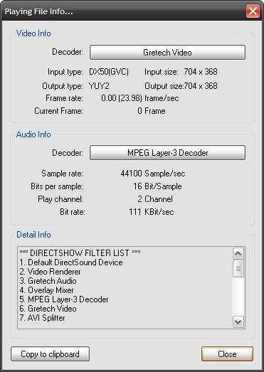 Панель информации о файле
