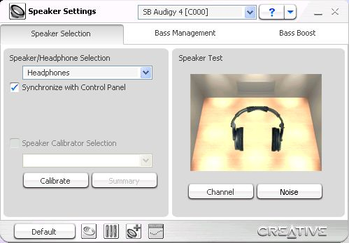 Audigy 4 Speaker Settings