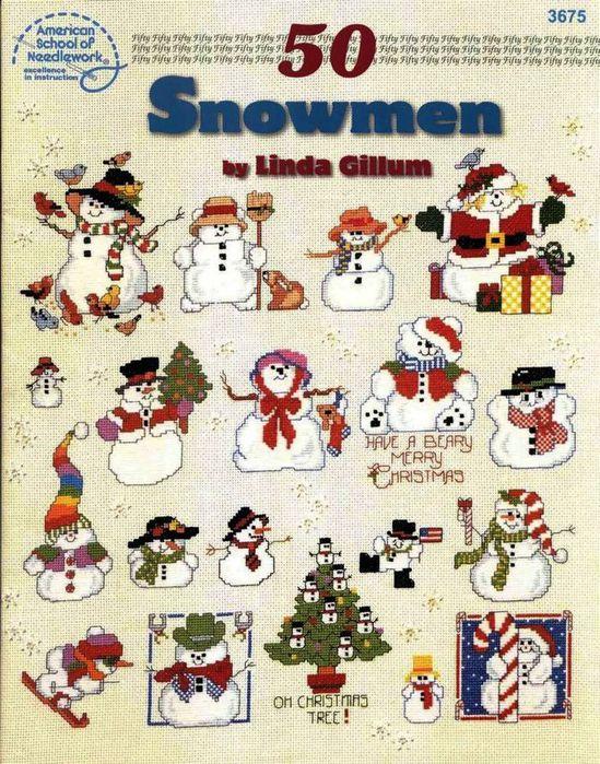 Буклеты со снеговиками, вышивка и схемы.  Название: 50 snowmen by Linda Gillum and Let it snow by Howard Формат...