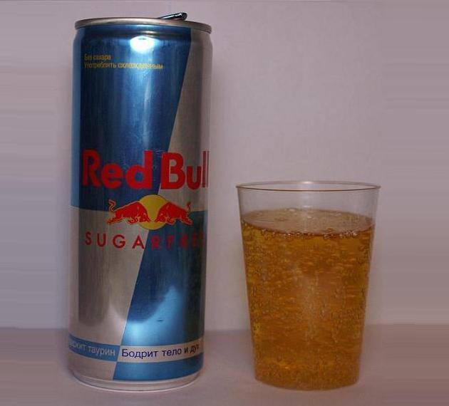 ...как у большинства энергетиков Состав: Кофеин - 0,03%, Таурин - 0,4.