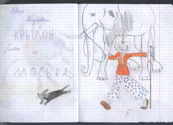 Басни Крылова: Слон и Моська