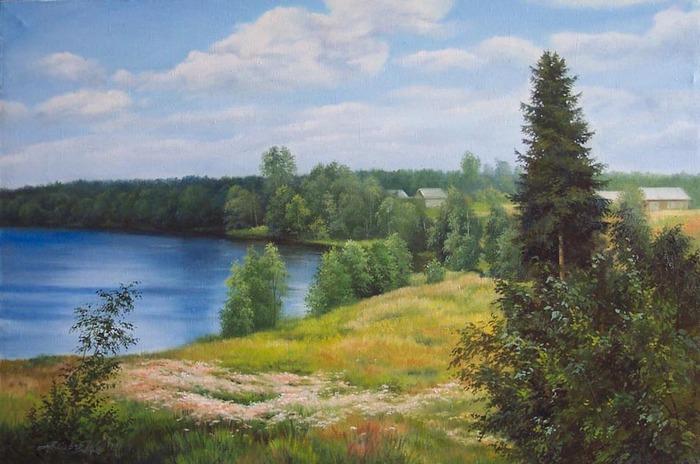 Озеро в лодейном поле холст масло