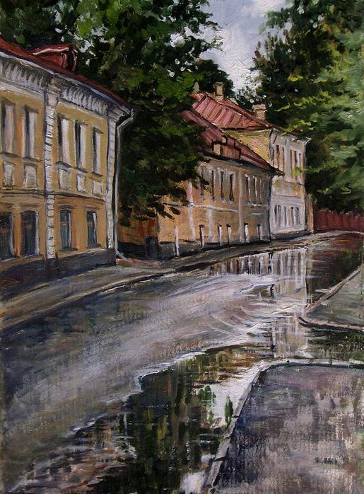 Владимир Качанов. Кадашевский переулок после дождя, 1972 год.