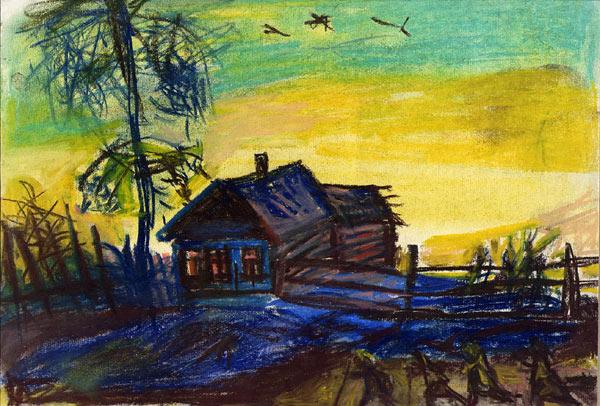 Деревня. Работа художника Павла Никонова