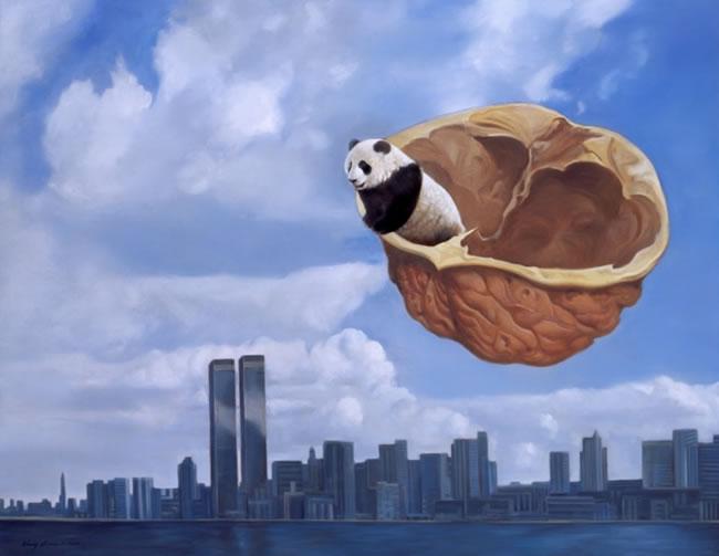 Симпатичный неуклюжий панда кисти китайца Джана Чикая призван тронуть...