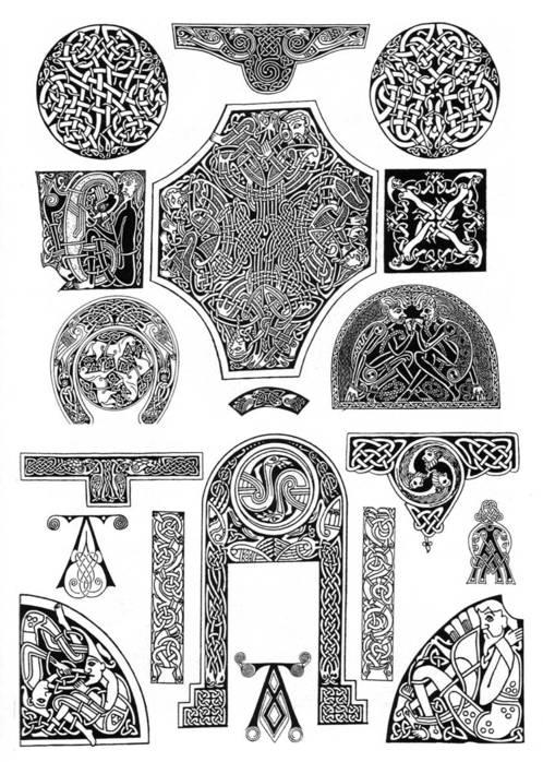 Кельты - кельтские узлы, переплетающийся орнамент.  Живопись.