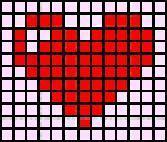 Схема фенечек прямым плетением сердце