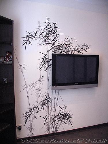 Роспись стены. Бамбук.