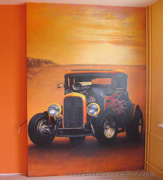Роспись стены детской комнаты. Машина