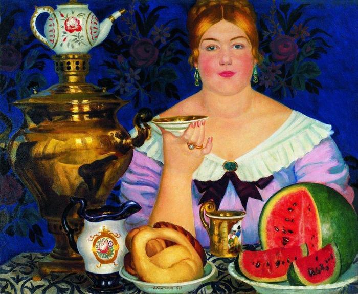 """...картина Кустодиева  """"Купчиха, пьющая чай """", в отличие от  """"Незнакомки """" ( """"Неизвестной """") Крамского, входит в экспозицию..."""