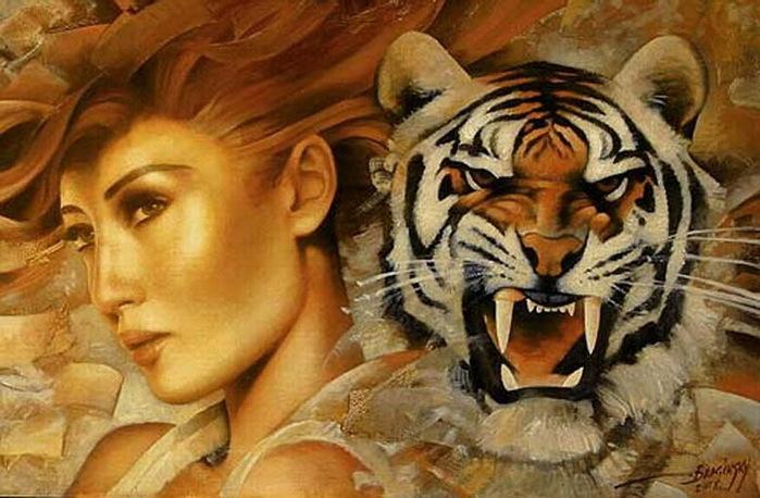 Девушка и тигр, девушка, животные, лев, ягуар, барс, хищник, ягнёнок...