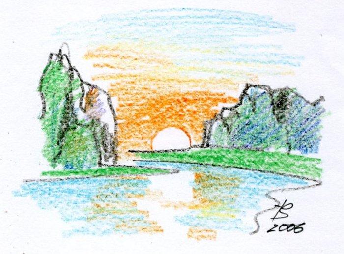 Пейзаж с горами пейзаж рисунок