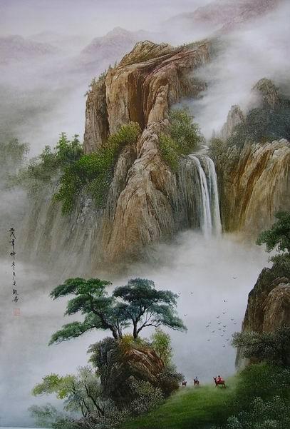 """Схема вышивки  """"Водопад в горах """" ."""
