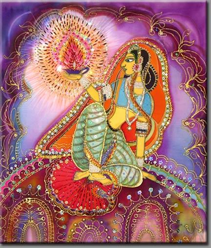 Путь сердца - Агни Священный огонь (из серии Индия), Батик, вышивка биссером, паетками, стеклярусом.