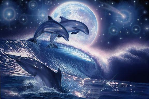 """Оригинал схемы вышивки  """"Дельфины """" ."""