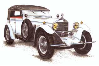 """...с Даймлером, в последсвии создавшими фирму  """"Бенц и Ко """", которые в 1926 году начали выпуск автомобилей марки."""