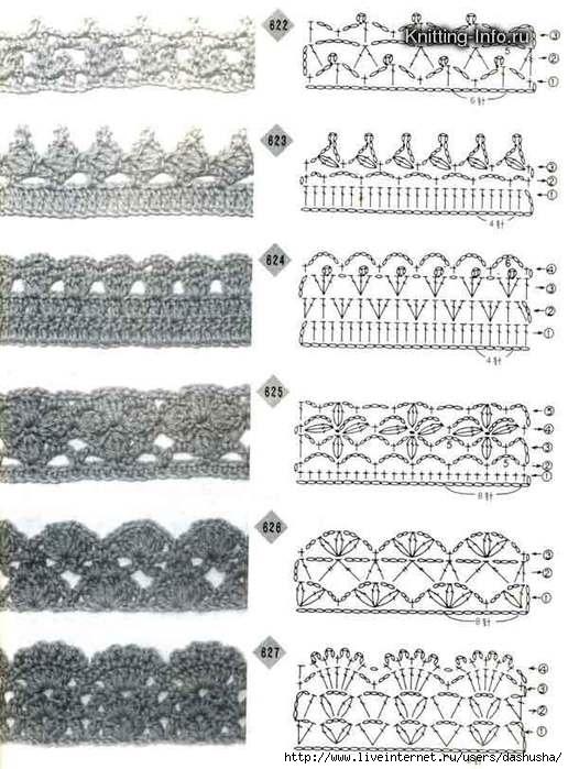 коллекция схем обвязки края крючком.