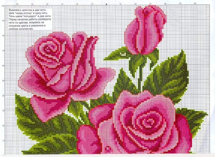 Подробные схемы вышивки крестом розы 1