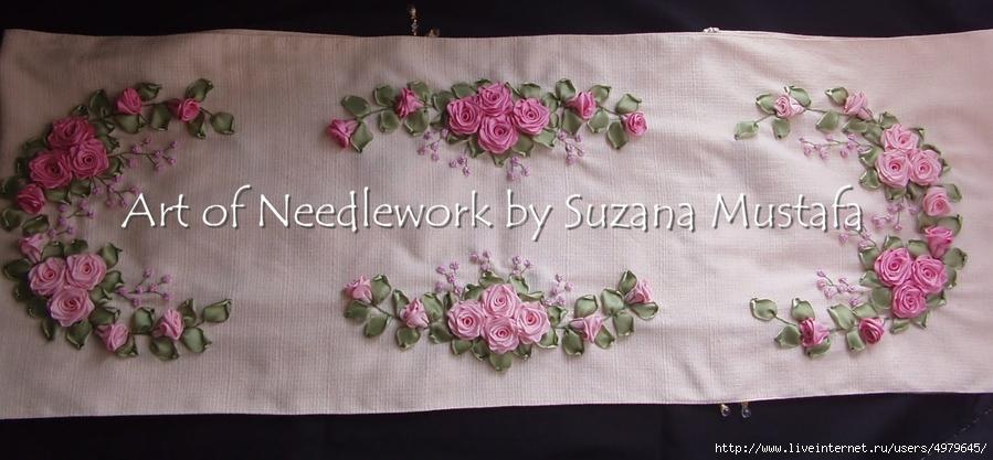 Вышивка лентами скатерти подушки покрывала картины фото