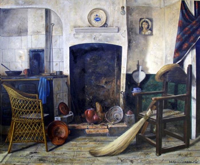 La cocina de mi tía, Óleo sobre lienzo Ricardo Renedo Pintor Español (700x578, 294Kb)
