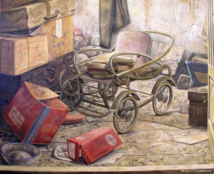 Viejo desván, Óleo sobre lienzo Ricardo Renedo Pintor Español (700x566, 307Kb)