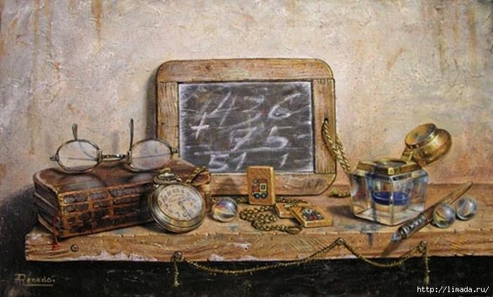 Tintero y pluma, Óleo sobre lienzo Ricardo Renedo Pintor Español (700x421, 229Kb)