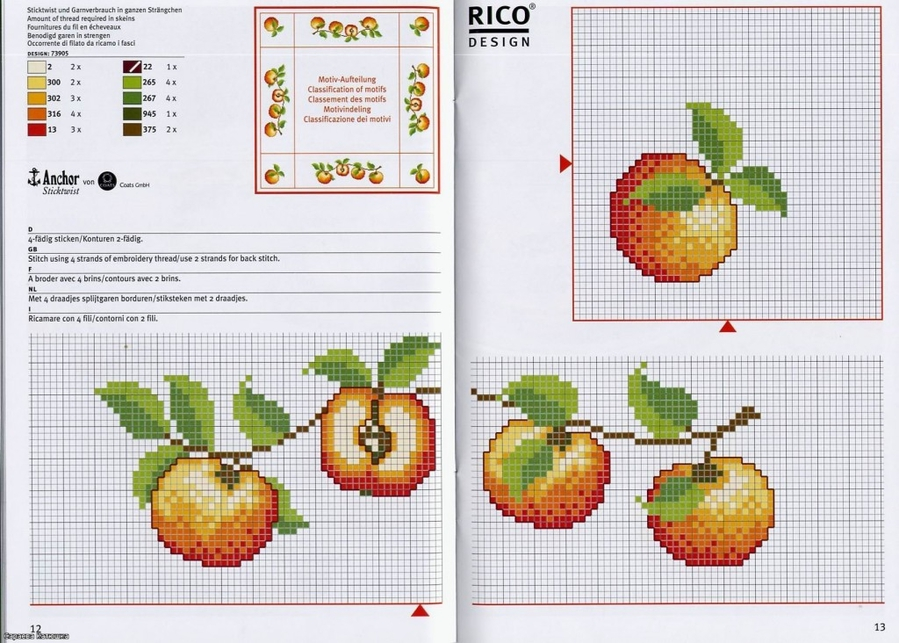 Схема вышивки крестом яблочный спас