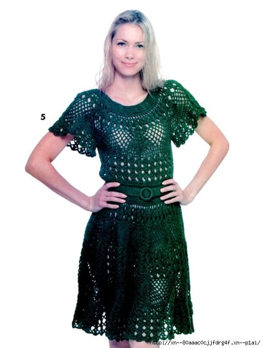 Зеленое платье из журнала «КлубОКей» № 10 2013 г.