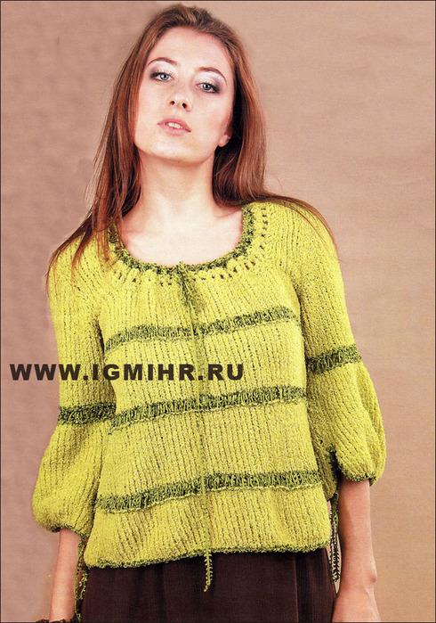 женский пуловер комбинированный двухцветный из полушерсти спицами нанесения