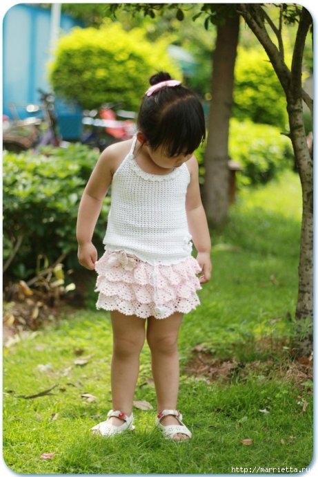 Летний топик крючком для маленькой девочки. Схемы (17) (461x690, 198Kb)