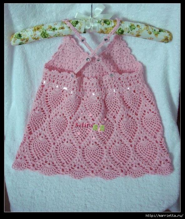 Вязание крючком. Розовый сарафан и платьице для девочки (2) (591x700, 332Kb)