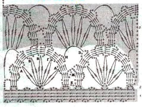 схемы вязания брюггского