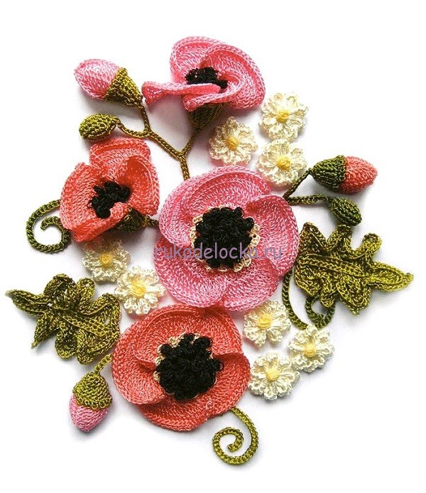 Цветы крючком -МАКИ (600x694, 127Kb)
