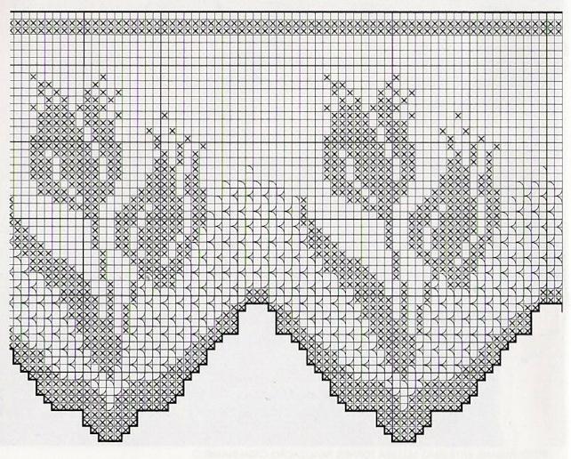 Схемы филейного вязания крючком тюльпан 91