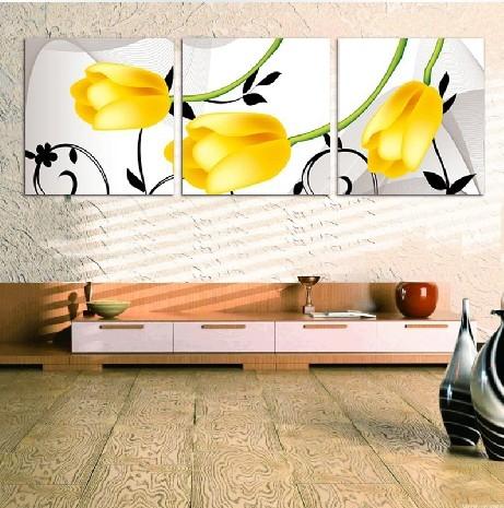 Кака вишивки хрестом нові друку Спальня Вітальня серії Жовті тюльпани Триптих істотні нові вишивки хрестом.