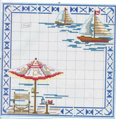 *морские* схемы вышивки