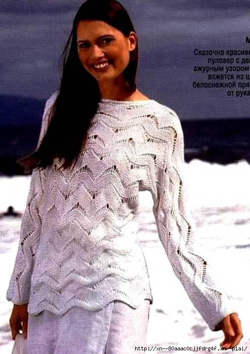 Пуловер, связанный поперек