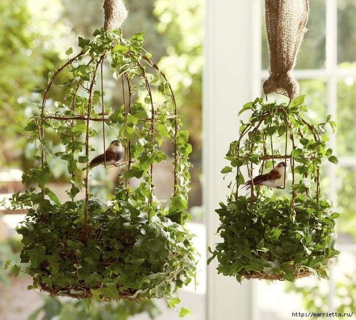 Топиарий из веток для птички и красивая композиция из тыквы (1) (700x630, 357Kb)