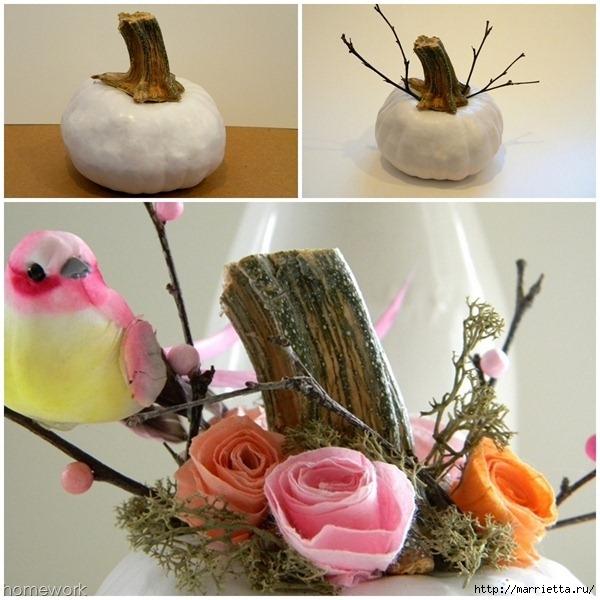 Топиарий из веток для птички и красивая композиция из тыквы (9) (600x600, 209Kb)