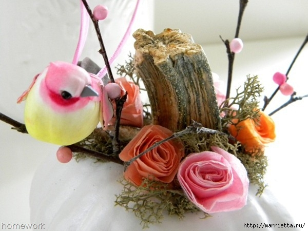 Топиарий из веток для птички и красивая композиция из тыквы (10) (600x450, 150Kb)