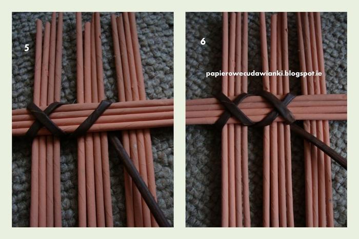Плетение из газет. Узор для крышки корзинки. Мастер-класс (16) (700x466, 221Kb)