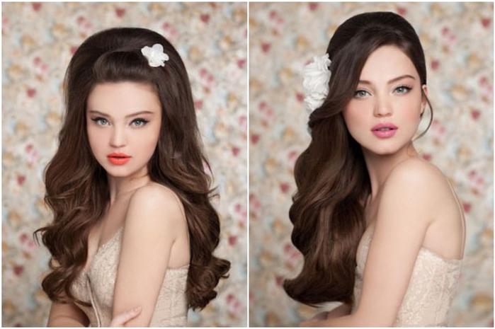 прически на длинные волосы на свадьбу для сестры фото