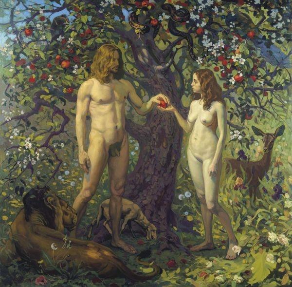 Тогда Ева взяла от плодов этого дерева и ела сама, и дала мужу своему