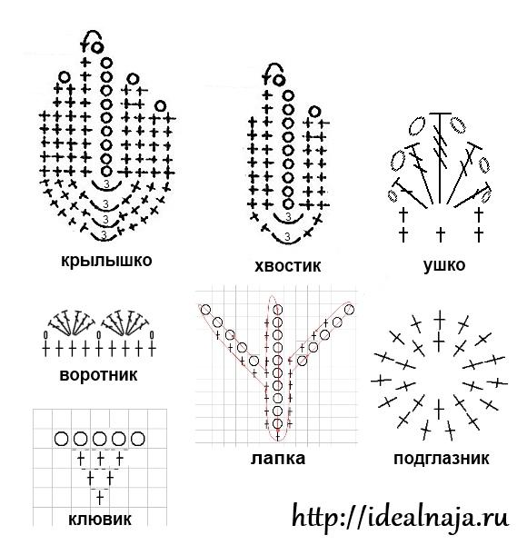 Схема вязания элементов для совы крючком.  Вяжем тельце: Скользящую петлю сомкнуть соединительным столбиком и связать...