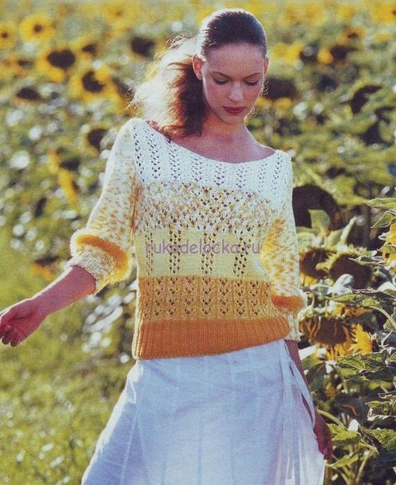 Летний пуловер спицами (571x700, 140Kb)