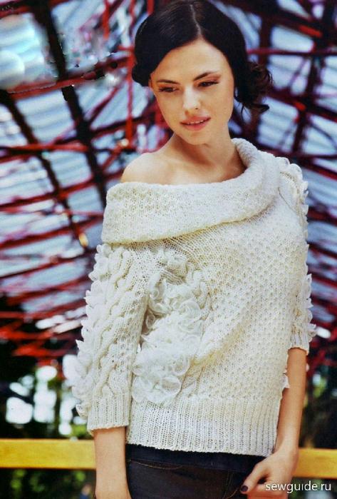 Широкий свитер спицами 5