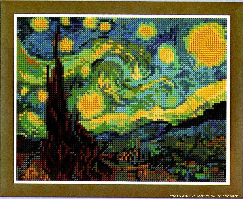Ван гог звёздная ночь вышивка крестом 524