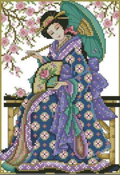 Вышивка крестом, схема Ветка сакуры.