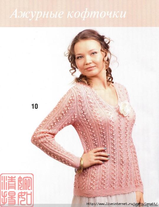 Спицы.Розовая ажурная кофта